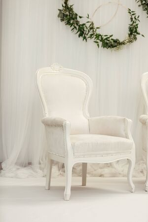 chair with luxurious upholstery in plain white interior. Elegant light-blue arm-chair and tender flowers near white wall. Interior in white colors