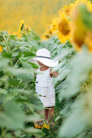 A cute little smiling girl in the field of sunflowers. child in momy hat. childhood concept. Sunny summer day in field of sunflowers