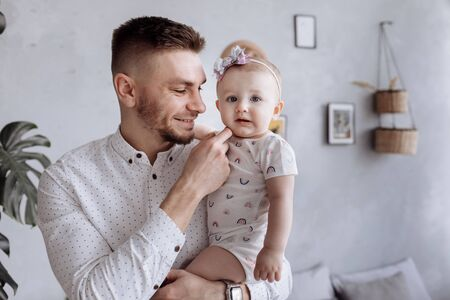 dad hugging his child daughter. happy family and father's day Stock Photo