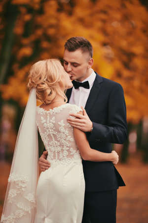The groom kisses bride in autumn park. beautiful woman with bouquet of flowers. The groom in a black suit. Happy and young married couple. wedding day.