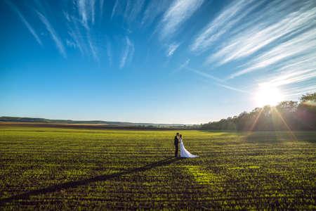 Young wedding couple enjoying romantic moments. Wedding day. Stock Photo