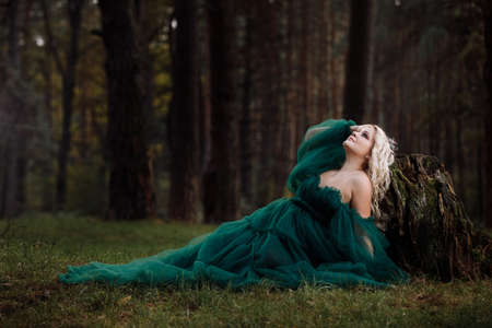 portrait of A beautiful blonde young woman in a green dress and a diadem on her head in the forest. girl sitting near the old stump. Solar glare. Fantasy. fairy tale.