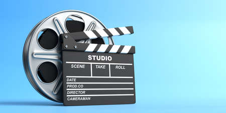 Film reel with clapperboard isolated on blue background in pastel colors. Minimalist creative concept. Cinema, movie, entertainment concept. 3d render illustration Zdjęcie Seryjne