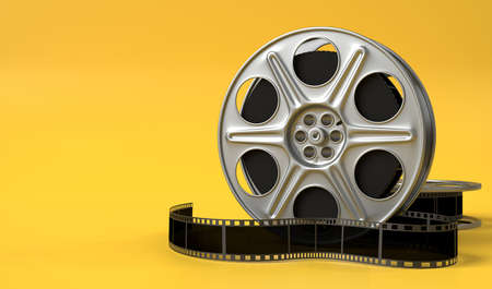 Film reel isolated on bright yellow background in pastel colors. Minimalist creative concept. Cinema, movie, entertainment concept. 3d render illustration