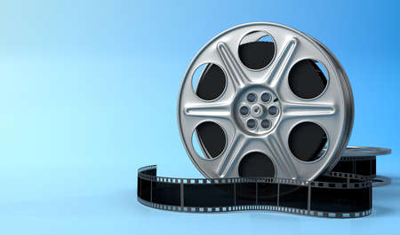 Film reel isolated on bright blue background in pastel colors. Minimalist creative concept. Cinema, movie, entertainment concept. 3d render illustration