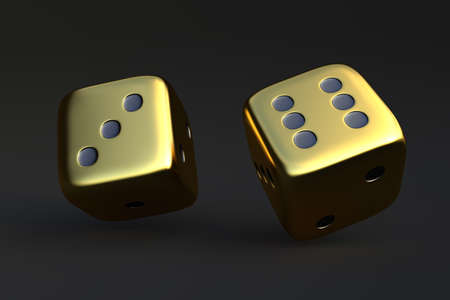 Two rolling dice, poker dice, ivories, bone, devil's bones on dark background in gold colors with copy space. Gaming and gambling. Random numbers. Luck and chance. 3D render illustration
