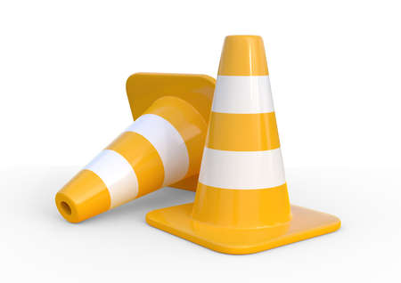 Traffic cones isolated on white background. 3d rendering illustration