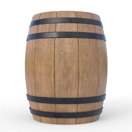 Wooden barrel isolated on white background 3d rendering illustration Reklamní fotografie