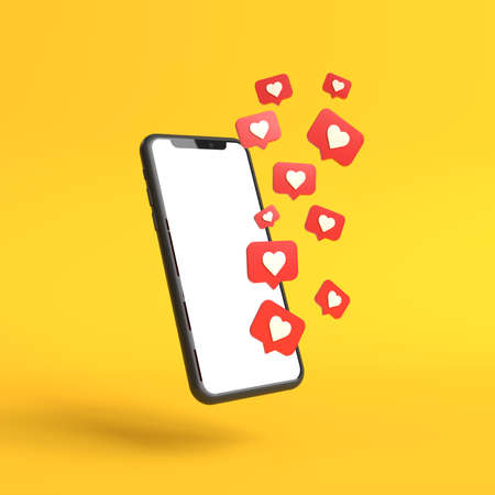 Social media like icons with a modern smartphone with blank screen on a yellow background. Minimal concept. 3D Render Illustration