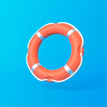 Lifebuoy on a blue background. Minimal Idea ring buoy creative concept design copy space. 3D rendering illustration Standard-Bild