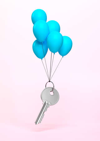 One single key with a ring flying on balloons on a pink background. Minimalism concept. Concept illustration for real estate, construction or insurance agency. 3d render illustration