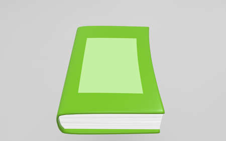magazine stack: Green book on white background. 3d render.