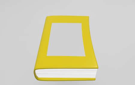 lexicon: Yellow book on white background. 3d render. Stock Photo