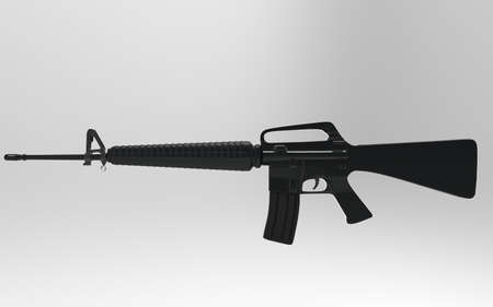 m16: M16 on gray background, 3d render.