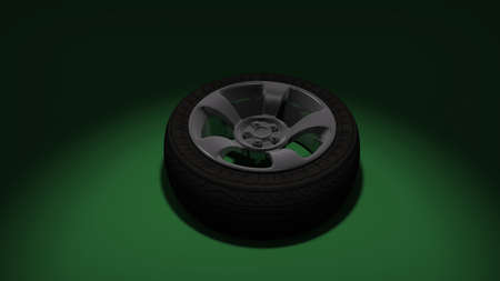 Tire on green background. 3d render