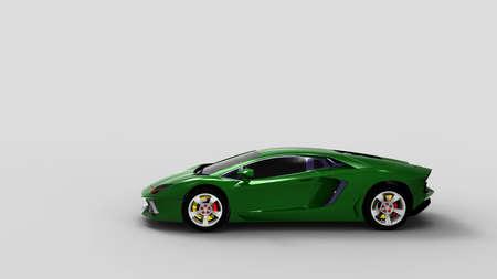 Green sport car on white background.3d render.