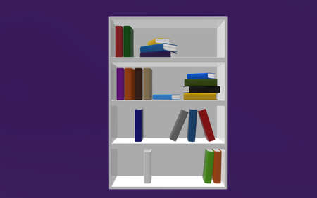 attainments: Bookshelf on purple background. 3d render. Stock Photo