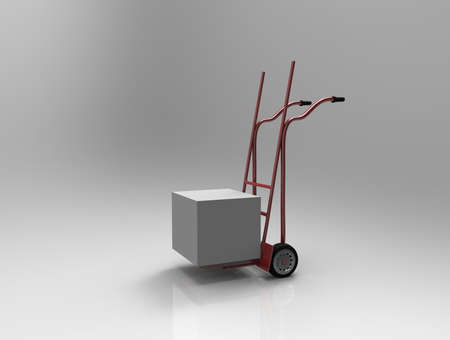 hand truck: Hand truck on white background. 3d render. Stock Photo