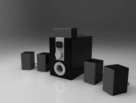 subwoofer: Home cinema speakers with sub-woofer on gray background. 5.1 system.3d render.