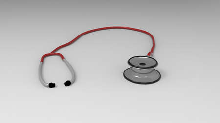 stethescope: Stethescope on gray background. 3d render.