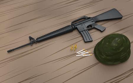 marksmanship: Vietnam rifle with helmet on wooden background. 3d render.