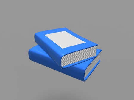 magazine stack: Blue book on gray background. 3d render.