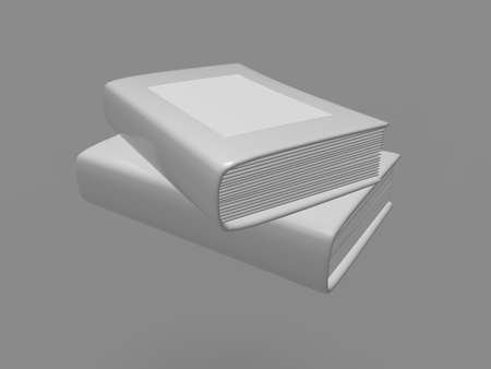 magazine stack: White book on gray background. 3d render. Stock Photo