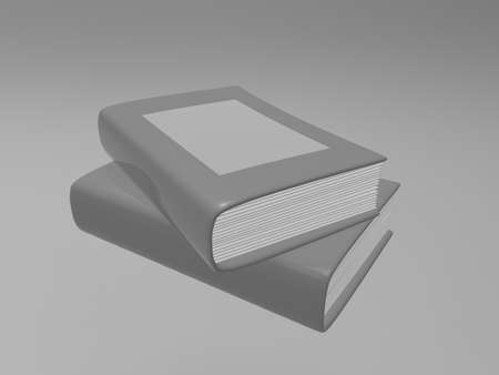 magazine stack: Gray book on background. 3d render. Stock Photo