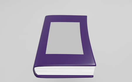 Purple book on gray background. 3d render.