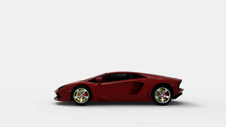 Red sport car on white background.3d render.