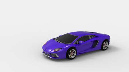 purple car: Purple sport car on white background. 3d render. Stock Photo