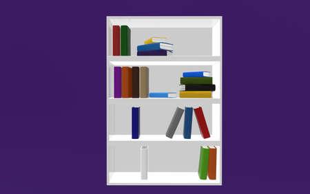 attainments: White bookshelf on purple background. 3d render.