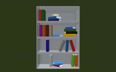 attainments: Books on bookshelf on dark green background. 3d render.