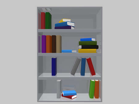 attainments: Books on bookshelf with gray background. 3d render.