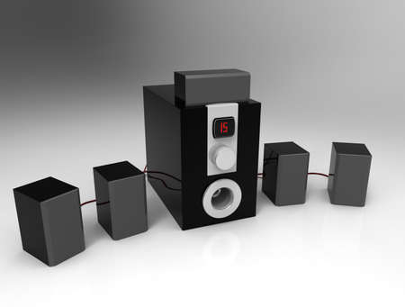 Home cinema speakers with sub-woofer on white background. 5.1 system.3d render. Stock Photo