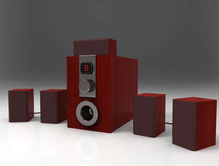 Wooden home cinema system with sub-woofer. 3d render.