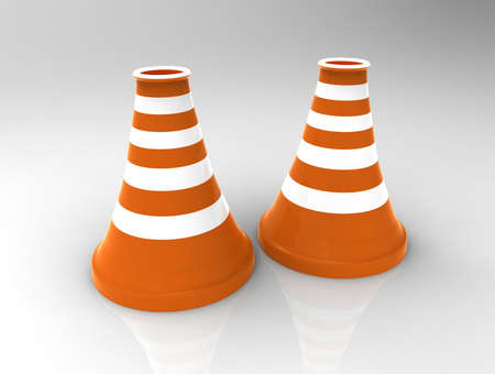 Traffic cone on background. 3d render.