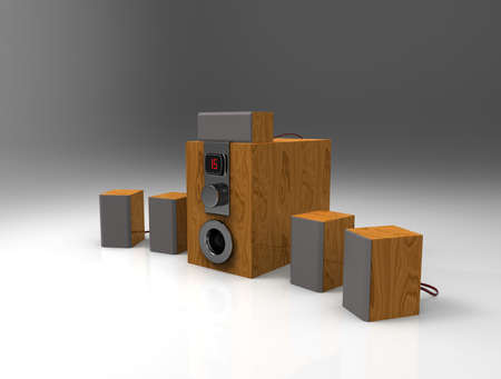 surround system: Wooden home cinema system with sub-woofer. 3d render.