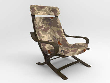 Millitary chair on background. 3d render. Stock Photo