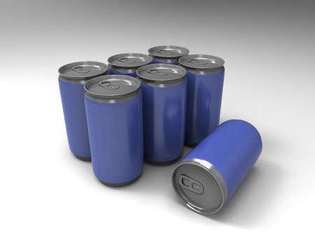 jarra de cerveza: Latas azules en el fondo. Procesamiento 3d.
