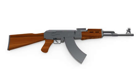 AK-47 on background. 3d render. Stock Photo