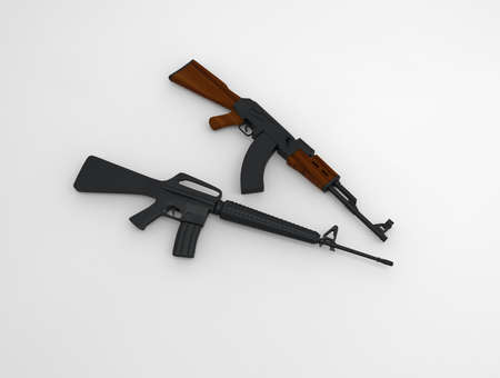 16: AK-47 an M 16, on background. 3d render. Stock Photo