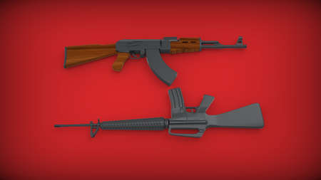 AK-47 and M 16 on red background.3d render. Stock Photo