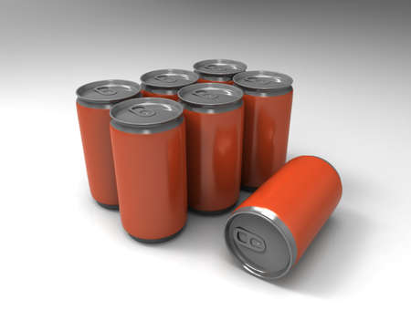 cola canette: boîtes orange sur fond. 3d render.