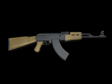 airborn: AK-47 an M 16, on background. 3d render. Stock Photo