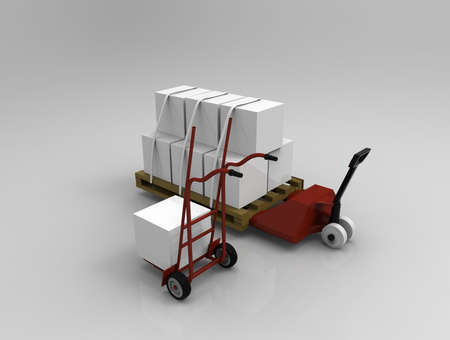 fork lifts trucks: Hand truck and hand lift on background. 3d render.