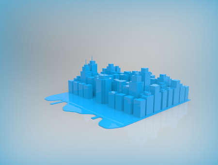 City on background. 3d render. Stock Photo