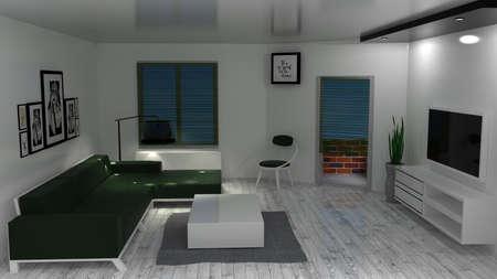 modern living: Modern living room. 3D rendering.