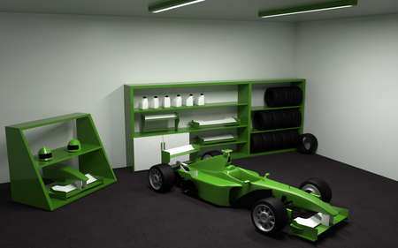 formula one: Formula one, racing car in garage. 3D rendering. Stock Photo