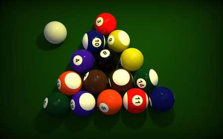 snooker rooms: Billiard balls on green table. 3D rendering. Stock Photo